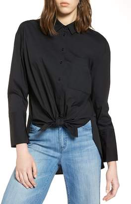 bad209177f1 ... Halogen Tie Front Poplin Shirt (Regular & Petite)