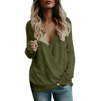 Pervobs Womens Sweater Pervobs Women's Knitted Sweater Deep V-Neck Long Sleeve Wrap Front Loose Sweater Pullover Jumper