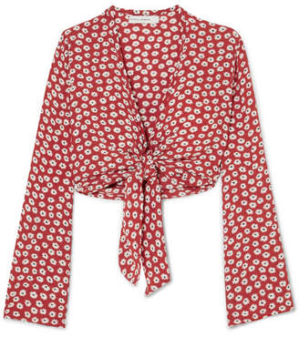 Faithfull The Brand Teguise Tie-front Floral-print Crepe Top