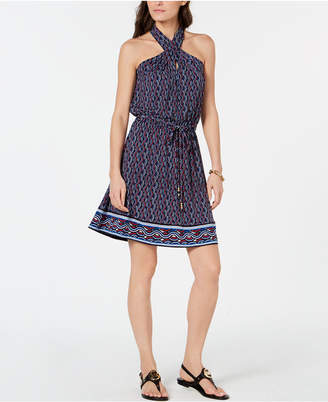 Michael Kors Crossover Halter-Neck Printed Dress