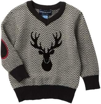 Andy & Evan Herringbone Sweater with Reindeer (Baby Boys)