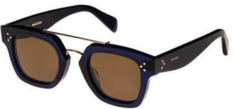Celine Square Monochromatic Acetate & Metal Sunglasses