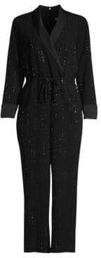 Trina Turk Cocktail Celebration Straight-Leg Crop Embellished Drawstring Jumpsuit