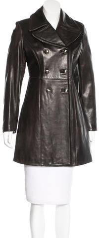 prada Prada Double-Breasted Leather Coat