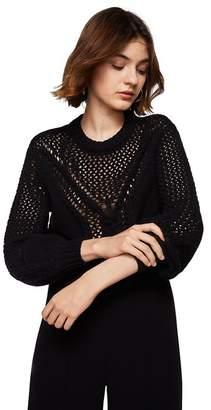 MANGO Black Openwork Knit 'Ravioli' Puffed Long Sleeve Sweater
