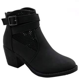 BLUE SUEDE SHOES BLUE WOMENS LOW HEEL MID CALF LACE UP SIDE ZIP FASHION BOOTS -GUBA-3 Size -009-BLACK