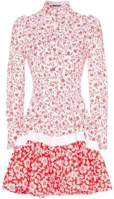 Alexander McQueen high-neck floral print cotton skater dress