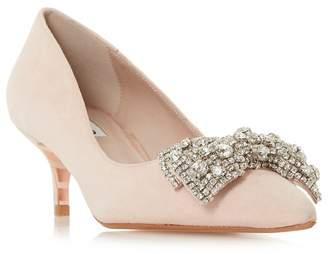 Dune Light Pink Suede 'Bowpeep' Mid Kitten Heel Court Shoes