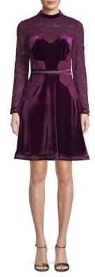 Tadashi Shoji Velvet Lace Cocktail Dress