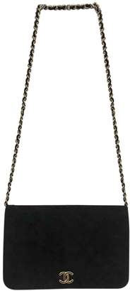 Chanel Vintage Wallet on Chain Black Suede Handbag