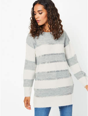 Striped Sequin Knitted Tunic Dress