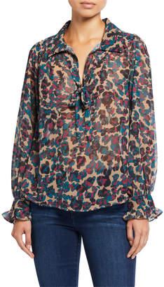 Chloé Oliver Risa Leo Leopard Print Blouse w/ Necktie