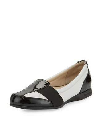 Taryn Rose Taurus Leather Slip-On Sneaker, White/Black $230 thestylecure.com