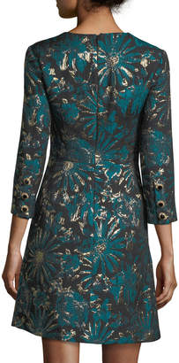 Trina Turk Lulu Glen 3/4 Sleeves Metallic Jacquard Mini Dress