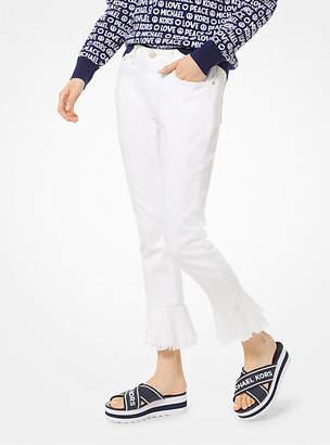 Michael Kors Izzy Stretch-Cotton Flounce Jean