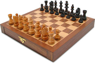 Trademark Global Inlaid Wood Magnetized Chess Board with Staunton Wood Chessmen