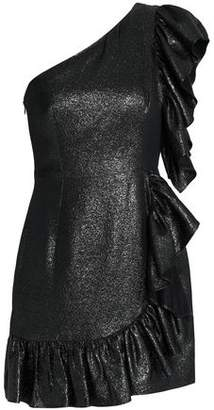 Sandro Metallic Ruffled Stretch-Knit Mini Dress