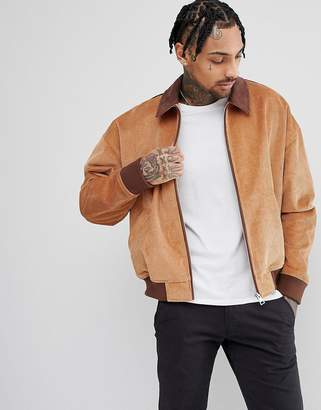Asos DESIGN Cord Oversized Harrington Jacket With Faux Suede Collar In Tan