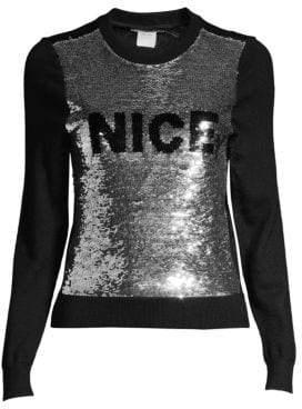 Alice + Olivia Chia Naughty& Nice Metallic Sequin Sweater