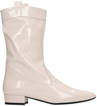Fabio Rusconi Low Heels Ankle Boots In Beige Patent Leather