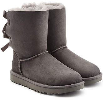 UGG Short Bailey Bow Suede Boots with Shearling Insole