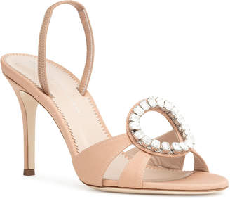 Giuseppe Zanotti Nude satin slingback sandals