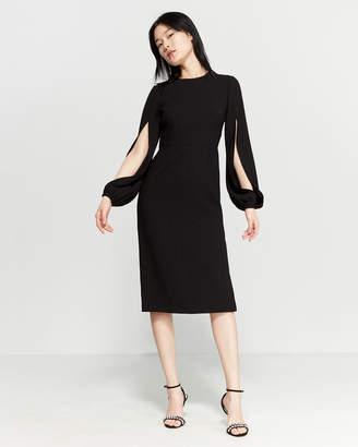 db123c0fc1c0 Jill Stuart Black Long Sleeve Crepe Midi Dress