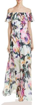Betsey Johnson Floral Chiffon Off-the-Shoulder Maxi Dress