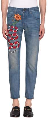 Gucci Kingsnake Embroidered Jeans