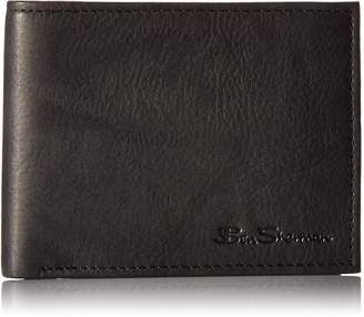 Ben Sherman Manchester Full Grain Marble Crunch Leather Passcase Wallet With Flip Up ID Window (RFID)