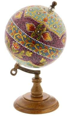 DecMode Decmode Traditional 9 inch multicolored resin and wood decorative lattice globe, Multicolor