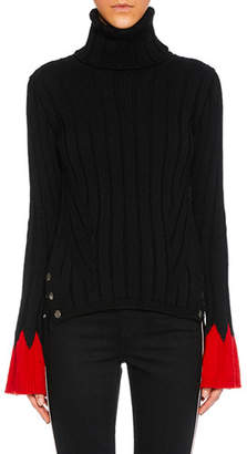Alexander McQueen Turtleneck Long-Sleeve Contrast-Cuff Wool Knit Sweater
