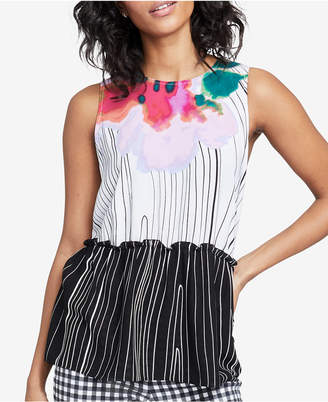 Rachel Roy Ruffled Mixed-Print Top, Created for Macy's
