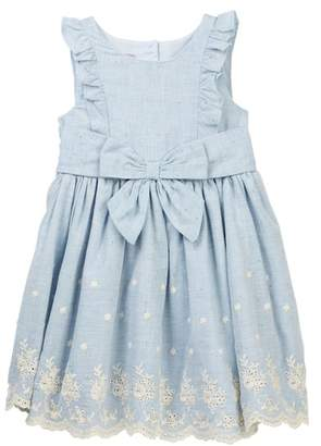 Pastourelle by Pippa and Julie Floral Ruffle Sleeve Chambray Linen Dress (Toddler Girls)