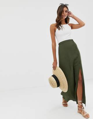 Asos DESIGN crinkle maxi skirt with self covered buttons