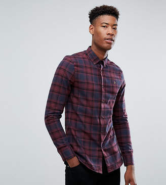 Farah Tall Waithe Slim Fit Check Shirt In Red