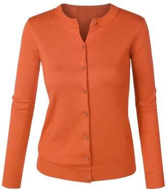 YAVOCOS Women's Crew Neck Soft Knit Button Down Long Sleeve Cardigan Sweater
