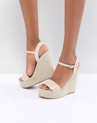 Glamorous Patent Espadrille Wedge Sandals