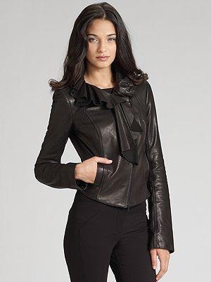 Diane von Furstenberg Ruffled Leather Jacket
