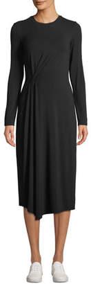 Vince Long-Sleeve Side-Drape Jersey Midi Dress
