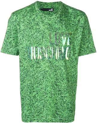 dc254c36a037 Love Moschino grass print holographic logo T-shirt