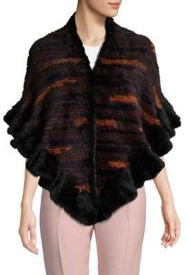 Multicolored Dyed Mink Fur Shrug