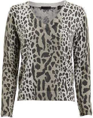 ATM Anthony Thomas Melillo Leopard Print V-Neck Sweater