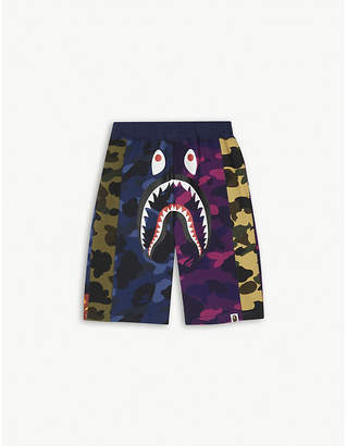 A Bathing Ape Shark motif camouflage cotton shorts 4-10 years