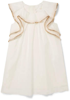 Chloé Kids - Ages 2 - 5 Metallic-trimmed Cotton Dress