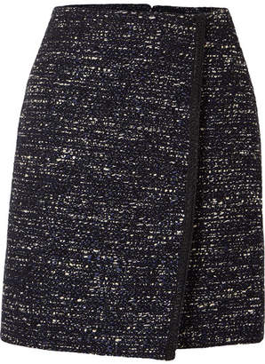ADAM by Adam Lippes Tweed Wrap-effect Mini Skirt - Navy