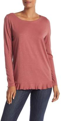 Susina Long Sleeve Ruffle Trim Tee (Regular & Petite)