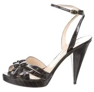 Oscar de la Renta Printed Cutout Sandals