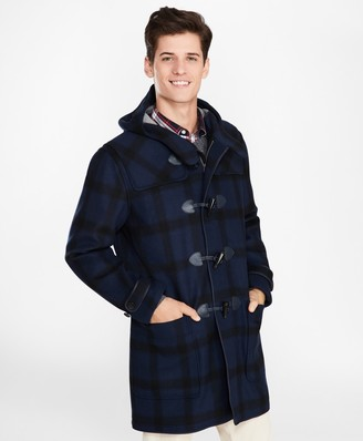 Brooks Brothers Double-Faced Wool-Blend Plaid Duffle Coat