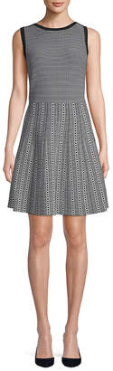 Saks Fifth Avenue BLACK Pattern Fit-&-Flare Dress